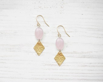 Hammered Brass Pink Chalcedony  Earrings