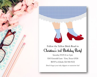 """Wizard of Oz Invitation- Ruby Slippers- Party Invitations- Set of 12 5""""x7"""""""