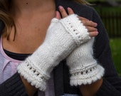 Fingerless Gloves, Fingerless Mittens, Off White, Angora, Wool, Nylon Blend