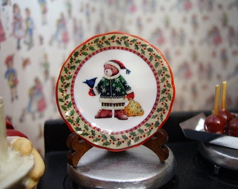 Christmas Bear and Bell  Miniature Plate for Dollhouse 1:12 scale