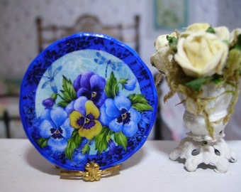 Colorful Pansies Miniature Plate for Dollhouse 1:12 scale