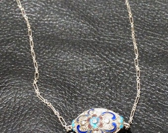 Antique Enamel Necklace Chinese Export Silver Circa 1900 Choker