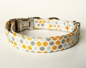 Honeycomb Dog Collar, Cute Dog Collar, Designer Dog Accessories, Trendy Pet Accessories, Adjustable Fabric Dog Collar, Unique Unisex Collar