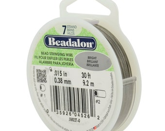 Beadalon Bead Stringing Wire 7 Strand 30 FT Spool. Various Sizes.010-.012-.015-.018-.020-.024-.026. BRIGHT