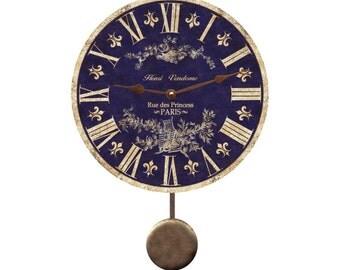 Blue Toile Pendulum Clock