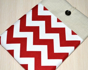 "Kindle EReader Sleeve, Galaxy Tab S/S2 case Nexus 7"" 9"" case, Kindle Case, Kindle Paperwhite- Custom Fit for Any 6""-8"" Tablet- RED CHEVRON"