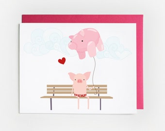 Valentine's Day Card, Illustrated Pig