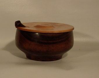 Wood Salt Cellar Set/Salt Box Set/Lidded Bowl