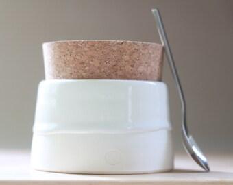 Spice Jar, food storage. Wedding gift.  Modern white ceramic stoneware clay pot with natural cork stopper.