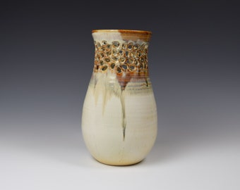 Hand Carved Pottery Vase, Cream pottery, Incised ceramics, Incised pottery