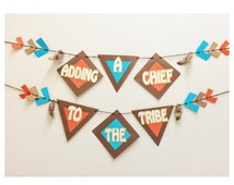 Pow Wow Baby Shower Banner ; Little Chief Baby Shower ; Arrow Shower Decoration ; Its A Boy ; Tribal Baby Shower Decor