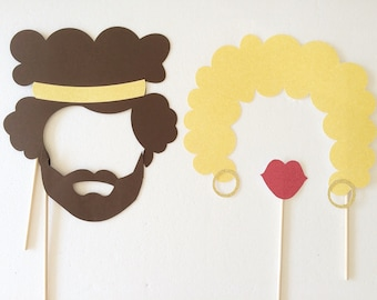 1970's Photo Booth Props; Afros Photobooth Props; 70s Party Photo Props; Hippie Birthday Party Decor ;(Handmade)
