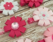 Deal of the Day - Pink Hair Bow - Pink Flower Hair Bows - Valentines Gifts - Valentines Hair Accessory - Pink Hair Accessory - Girls Pink