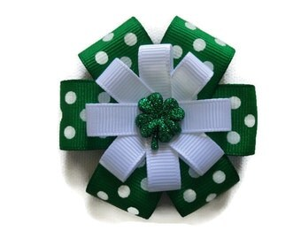 St. Patrick's Day Hair Bow - Green Shamrock Bow - Shamrock Hair Clip - St. Patty's Hair Accessory - Shamrock Hair Bow - Glitter Shamrock Bow
