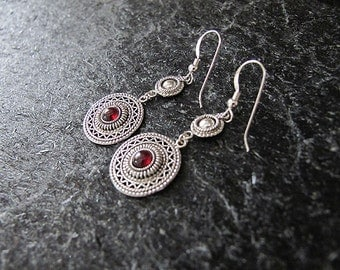 Jewelry, Earrings, Silver earrings, Filigree earrings, Garnet earrings, Israel  jewelry,yemenite jewelry