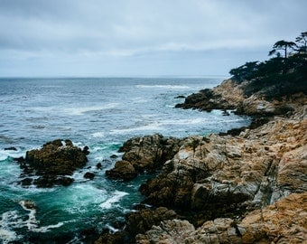 View of the rocky Pacific Coast from the 17 Mile Drive, in Pebble Beach, California - Landscape Photography Fine Art Print or Wrapped Canvas