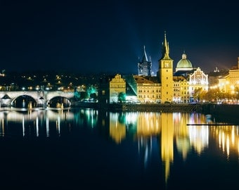 Charles Bridge and buildings along the Vltava at night, in Prague, Czech Republic - Photography Fine Art Print or Wrapped Canvas