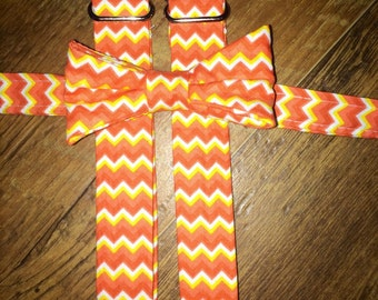 Spring/orange, yellow and white Chevron print/Bow tie and Suspenders/Perfect for weddings and ring bearers