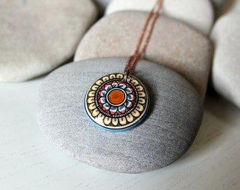 Hand painted pendant with chain # 4