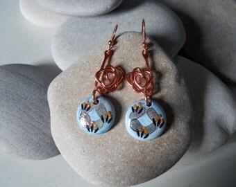 Hand painted earrings-copper/ceramic hand painted Earrings