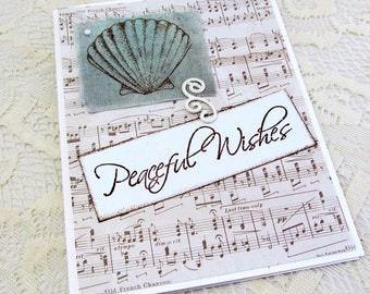 Peaceful Wishes - Holiday Card - Musical Note Paper - Seashell Card - Blank Card - Hand Stamped Fabric - Thanksgiving Card - Christmas Card