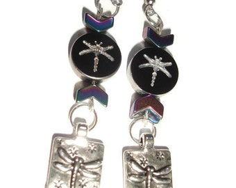 Dragonfly Earrings Rainbow  Dragonfly Charm Earrings Dangle Earrings Dragonfly long earrings Statement earrings Hematite Dragonfly earrings