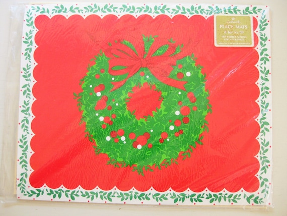 Eight vintage Hallmark placemats. Paper. Christmas placemats, Holiday decor. Wreath and holly. NOS Hallmark