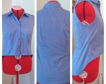 Blue Sleeveless Collar Shirt Crop