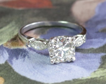 Vintage 1940's 1.29ct t.w. Old European Cut Diamond Engagement Ring Platinum