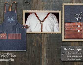 Barber Apron, (Selvedge Denim, handmade)