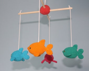 Dolphins in the blue sea - crochet baby mobile
