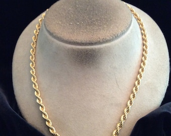 Vintage Signed Monet Etched Sparkly Goldtone Rope Style Necklace