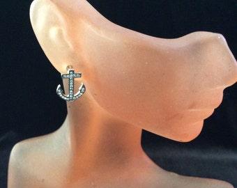 Vintage Rhinestone Anchor Earrings