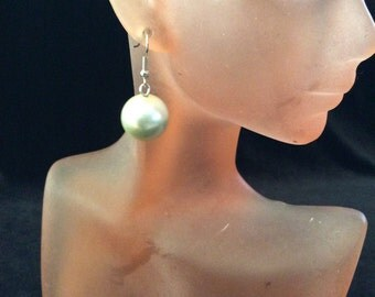 Vintage Glass Faux White Pearl Dangle Earrings