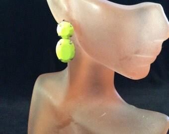 Vintage Bright Yellow Stone Dangle Earrings