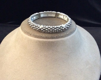 Vintage Silvertone Beaded Designed Bracelet