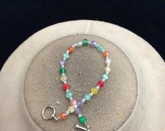 Vintage Colorful Beaded Toggle Bracelet