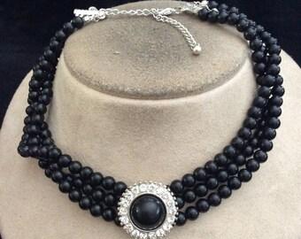 Vintage Triple Stranded Black Beaded Rhinestone Choker Necklace