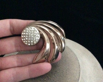 Vintage Large Rhinestone Swirl Pin