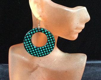 Vintage Black & Green Spotted Dangle Earrings