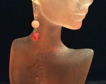 Vintage Shades Of Pink Beaded Dangle Earrings