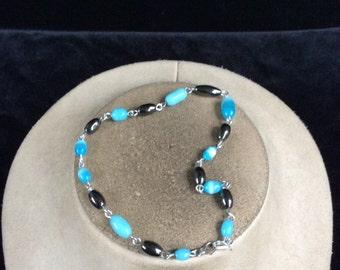 Vintage Metalic & Shades Of Blue Glass Beaded Bracelet