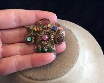 Vintage 3D Multi Colored Rhinestone Flower Basket Pin