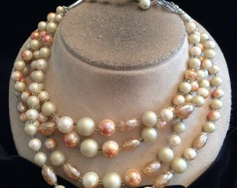 Vintage Chunky Multi Stranded Tan & Iriddesent Pink Beaded Necklace