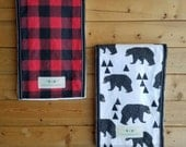 Infant Burp Cloths- Bears and Buffalo Plaid (set of 2 )