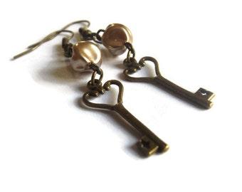 Bronze Key and Bead Earrings