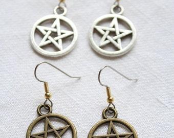 Dangling earrings. 'Protection' - 2 colours - pentagram