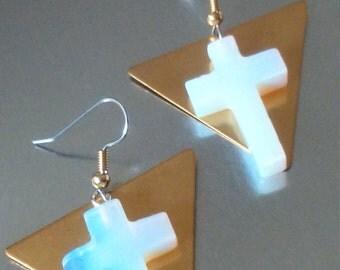 """Dangle earrings. """"Plain Cross Gem Vision"""""""