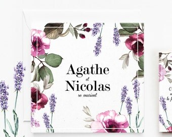 Personalized floral wedding invitation, Provence