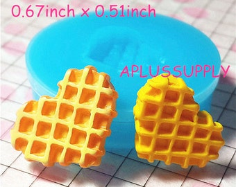 QYL003 Free Shipping Heart Waffle Silicone Mold Miniature Food Sweets Cupcake Jewelry Charms Clay Fimo Resin Wax Fondant